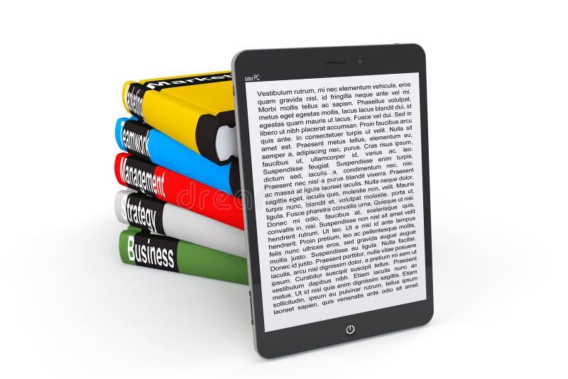 Έννοια επιχειρησιακής ε-βιβλιοθήκης. PC ταμπλετών με τα βιβλία ελεύθερη απεικόνιση δικαιώματος