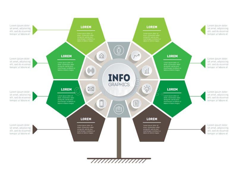 Έννοια επιχειρησιακής παρουσίασης με 8 σημεία, επιλογές, μέρη, ste διανυσματική απεικόνιση
