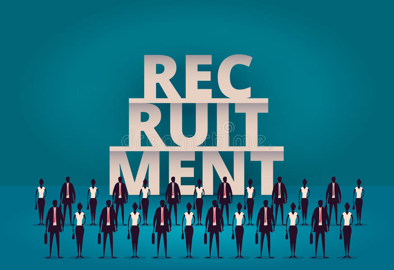 έννοια επιχειρησιακής στρατολόγησης Διευθυντής ωρ. που προσλαμβάνει το νέους υπάλληλο ή τους εργαζομένους για την εργασία Πρόσληψ διανυσματική απεικόνιση
