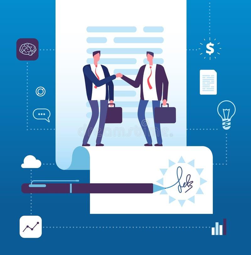 Έννοια επιχειρησιακής συμφωνίας Χειραψία επιχειρηματιών στη σύμβαση με την υπογραφή Επένδυση, διάνυσμα μεγάλης υπόθεσης συνεργασί απεικόνιση αποθεμάτων