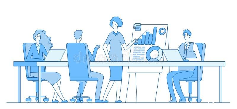 Έννοια επιχειρησιακής συνεδρίασης Επιχειρηματίας στην παρουσίαση με την ομάδα Διάσκεψη γραφείων ανθρώπων Επιτυχές διάνυσμα ομαδικ απεικόνιση αποθεμάτων