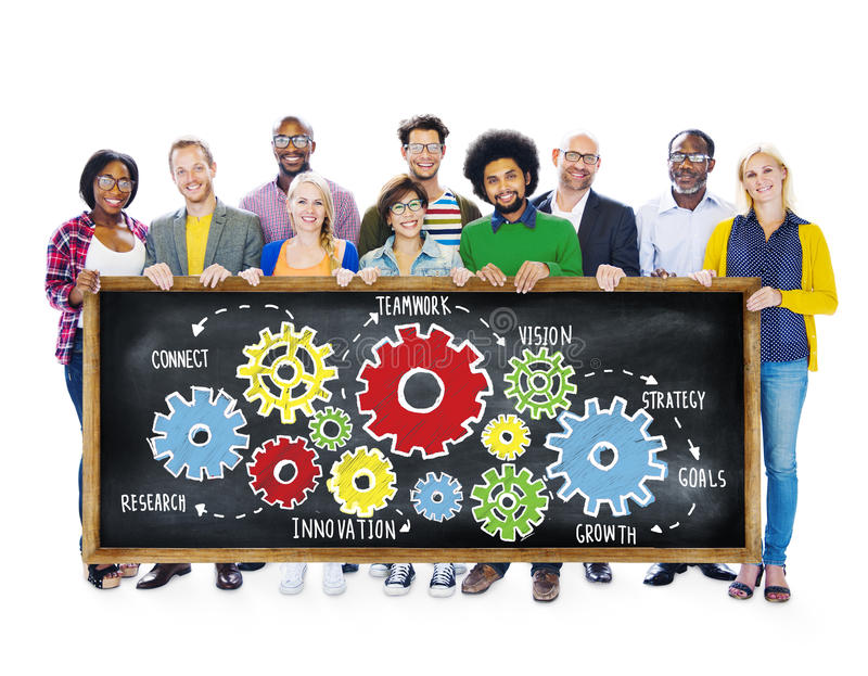 Έννοια επιχειρησιακής υποστήριξης οράματος στρατηγικής στόχων ομαδικής εργασίας ομάδας στοκ εικόνα