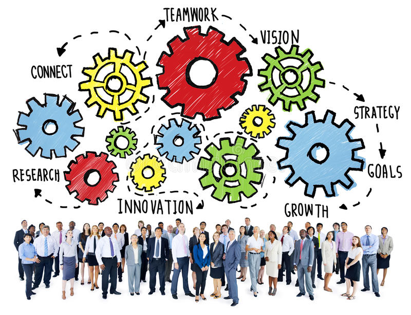 Έννοια επιχειρησιακής υποστήριξης οράματος στρατηγικής στόχων ομαδικής εργασίας ομάδας διανυσματική απεικόνιση