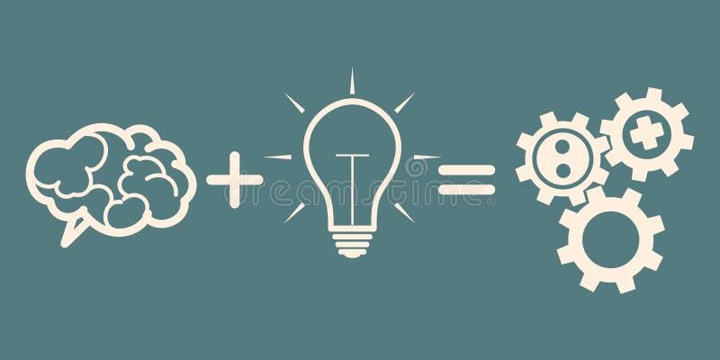 Έννοια επιχειρησιακών μηχανισμών εγκέφαλος συν την ιδέα = εργαλεία απεικόνιση αποθεμάτων