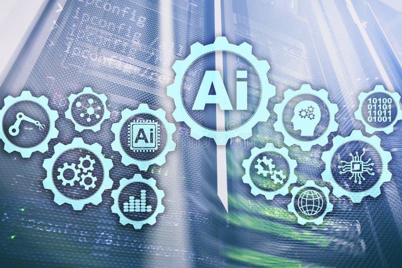 Έννοια επιχειρησιακών τεχνολογιών υψηλής τεχνολογίας τεχνητής νοημοσύνης Φουτουριστικό υπόβαθρο δωματίων κεντρικών υπολογιστών AI στοκ εικόνες