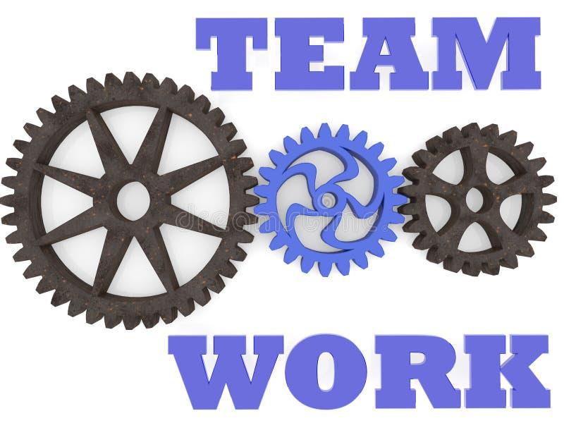 Έννοια εργασίας ομάδας με το μέταλλο και τα πλαστικά εργαλεία διανυσματική απεικόνιση