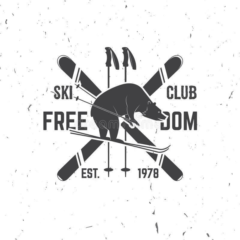 Έννοια λεσχών σκι με την αρκούδα απεικόνιση αποθεμάτων
