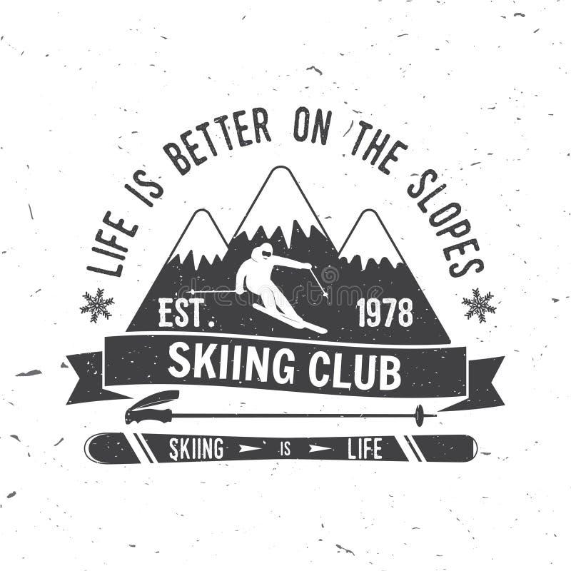 Έννοια λεσχών σκι με το σκιέρ απεικόνιση αποθεμάτων