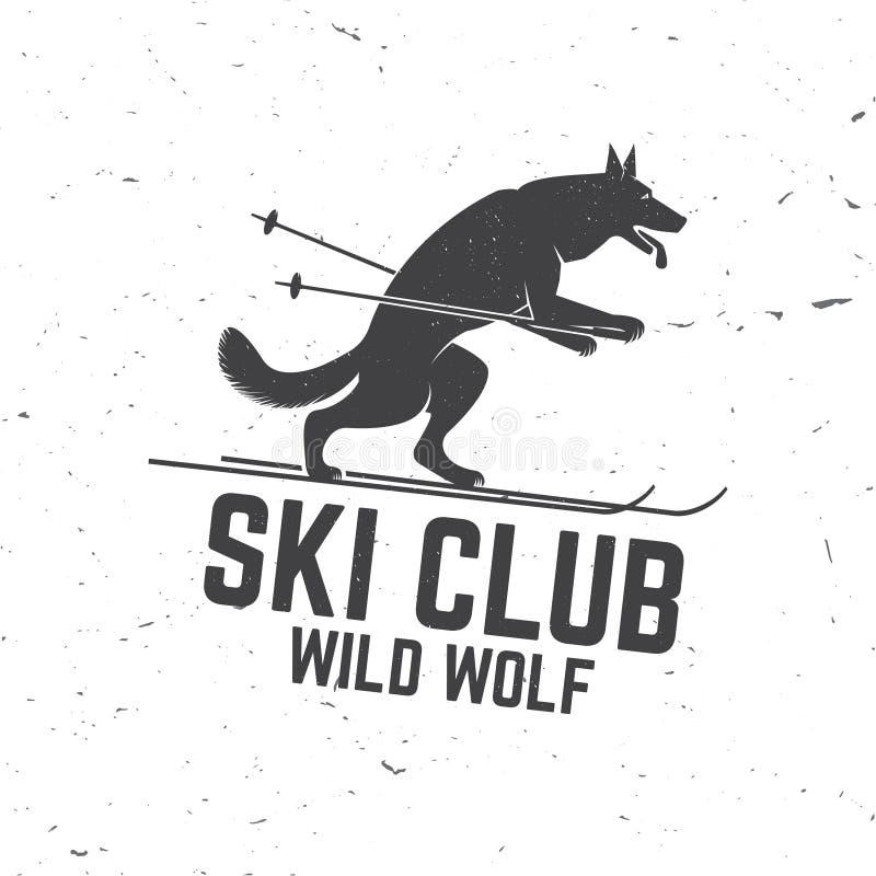 Έννοια λεσχών σκι με το λύκο απεικόνιση αποθεμάτων