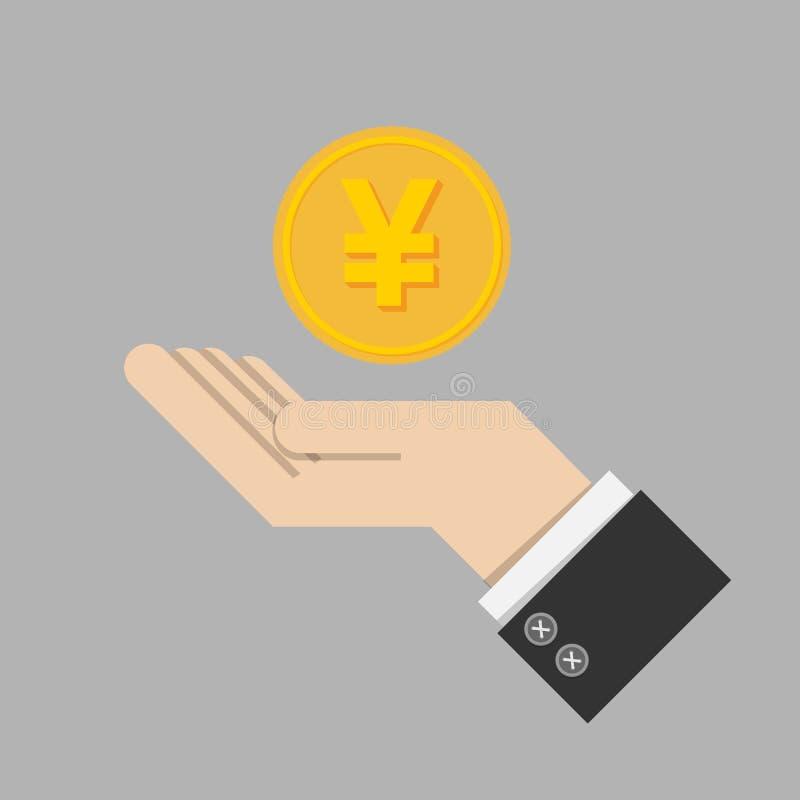 Έννοια εσόδου από επενδύσεις χρυσό νόμισμα με το σημάδι των ιαπωνικών γεν γ ελεύθερη απεικόνιση δικαιώματος