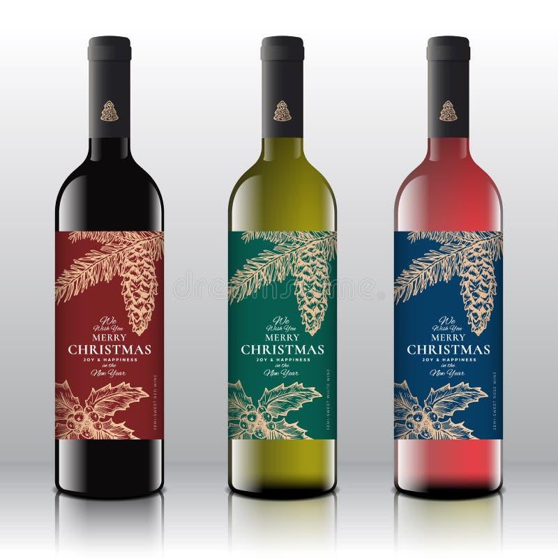 Έννοια ετικετών μπουκαλιών κρασιού χαιρετισμών Χριστουγέννων Κόκκινο, άσπρο και ρόδινο κρασί που τίθεται στα ρεαλιστικά διανυσματ διανυσματική απεικόνιση