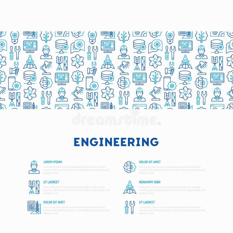 Έννοια εφαρμοσμένης μηχανικής με τα λεπτά εικονίδια γραμμών απεικόνιση αποθεμάτων