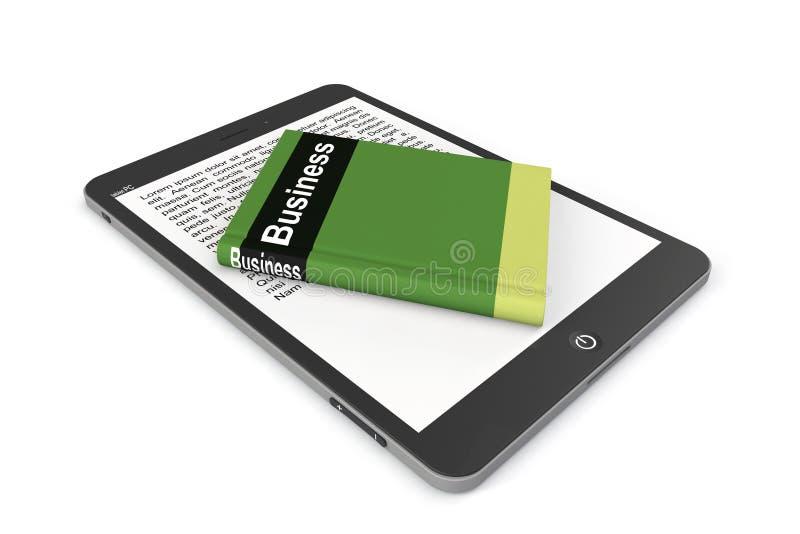 Έννοια ε-βιβλιοθήκης. PC ταμπλετών με το βιβλίο ελεύθερη απεικόνιση δικαιώματος