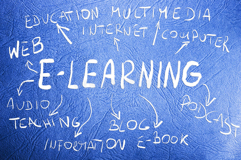 Έννοια ε-εκμάθησης λέξης χειρόγραφη στο μπλε υπόβαθρο στοκ εικόνα με δικαίωμα ελεύθερης χρήσης