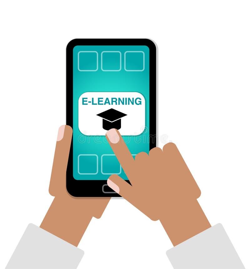 Έννοια ε-εκμάθησης ως δάχτυλο χεριών που επιλέγει τη σε απευθείας σύνδεση εκπαίδευση στο τηλέφωνο κυττάρων ελεύθερη απεικόνιση δικαιώματος
