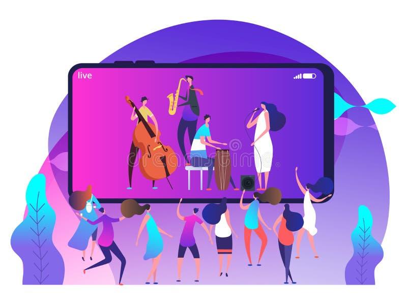 Έννοια ζωντανής μουσικής στο τηλέφωνο και τους χορεύοντας ανθρώπους - σε απευθείας σύνδεση φεστιβάλ μουσικής διανυσματική απεικόν απεικόνιση αποθεμάτων