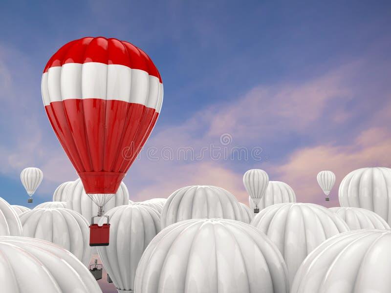 Έννοια ηγεσίας με το κόκκινο - μπαλόνι ζεστού αέρα ελεύθερη απεικόνιση δικαιώματος