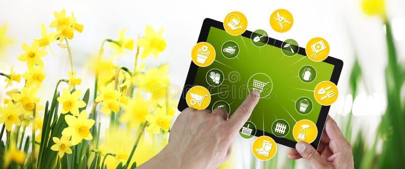 Έννοια ηλεκτρονικού εμπορίου εξοπλισμού κηπουρικής, on-line που ψωνίζει στην ψηφιακή ταμπλέτα, την υπόδειξη χεριών και την οθόνη  απεικόνιση αποθεμάτων