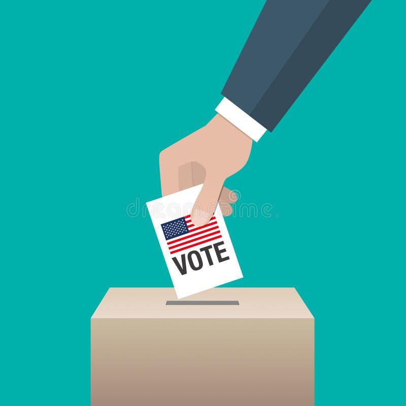 Έννοια ημέρας ΑΜΕΡΙΚΑΝΙΚΩΝ προεδρικών εκλογών Χέρι που βάζει το έγγραφο ψηφοφορίας διανυσματική απεικόνιση