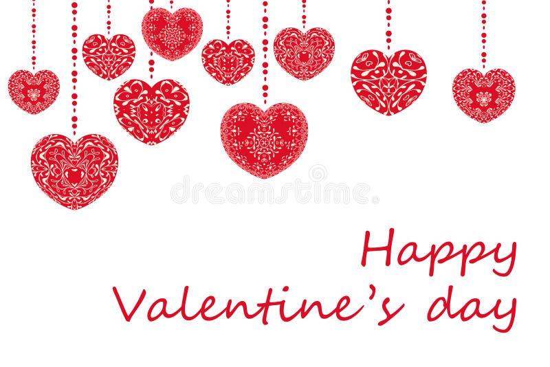 Έννοια ημέρας ευτυχούς Valentinea με το κείμενο συγχαρητηρίων Ρομαντικές κόκκινες μορφές καρδιών με τη διακοσμητική floral διακόσ ελεύθερη απεικόνιση δικαιώματος