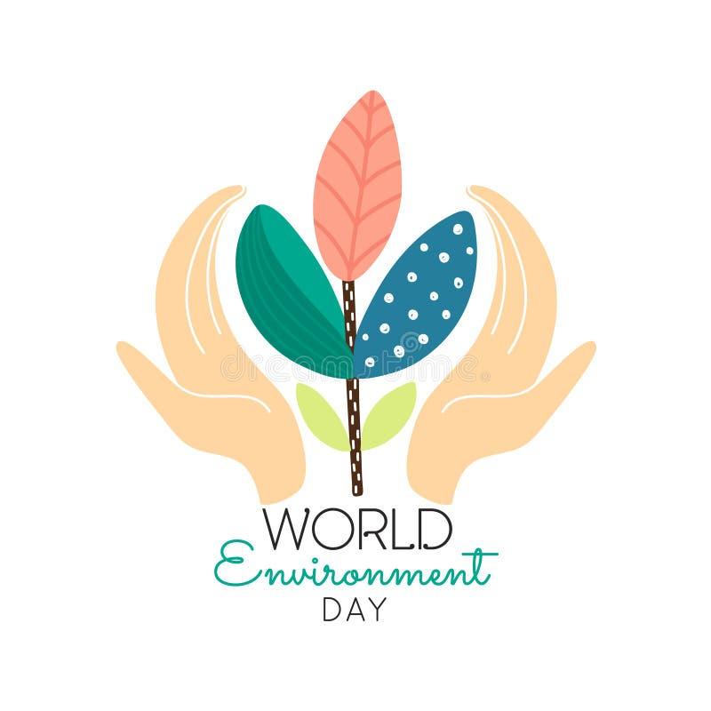 Έννοια ημέρας παγκόσμιου περιβάλλοντος Ανθρώπινα χέρια που κρατούν τις αφηρημένες εγκαταστάσεις η φύση σώζει Φιλικό σχέδιο Eco απεικόνιση αποθεμάτων