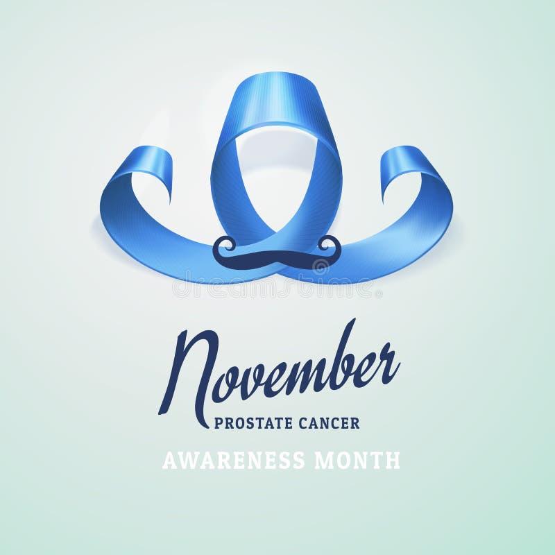 Έννοια ημέρας παγκόσμιου προστατική καρκίνου Προστατικό μπλε σύμβολο συνειδητοποίησης καρκίνου, κορδέλλα με μορφή του mustache πο απεικόνιση αποθεμάτων