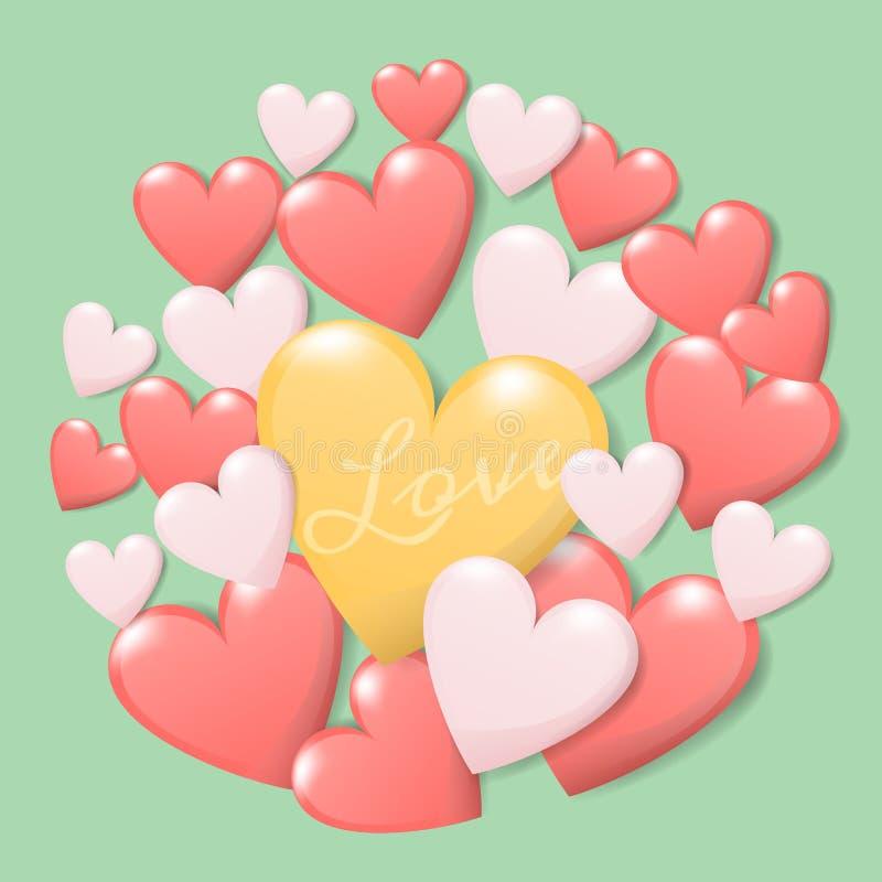 Έννοια ημέρας του ευτυχούς βαλεντίνου η ομάδα ζωηρόχρωμης καρδιάς με την αγάπη κειμένων απομονώνει στο πράσινο υπόβαθρο δημιουργι ελεύθερη απεικόνιση δικαιώματος