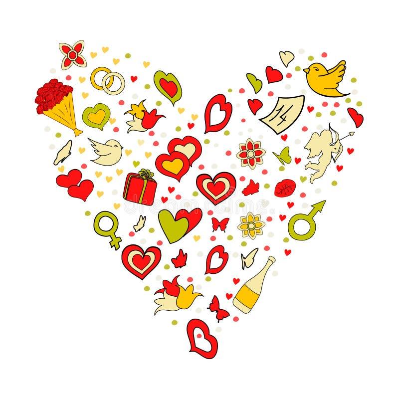 Έννοια ημέρας του ευτυχούς βαλεντίνου Κινούμενα σχέδια διανυσματικό συρμένο χέρι Doodle στη μορφή καρδιών απεικόνιση Λεπτομερές τ διανυσματική απεικόνιση