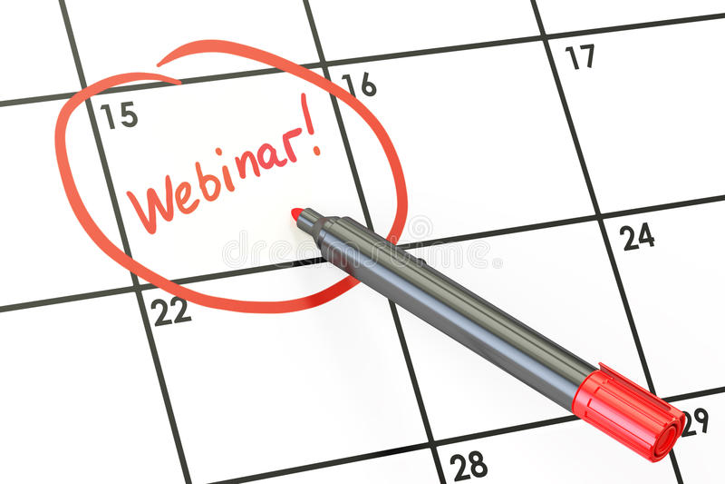 Έννοια ημερομηνίας Webinar, επιγραφή στο ημερολόγιο τρισδιάστατη απόδοση ελεύθερη απεικόνιση δικαιώματος