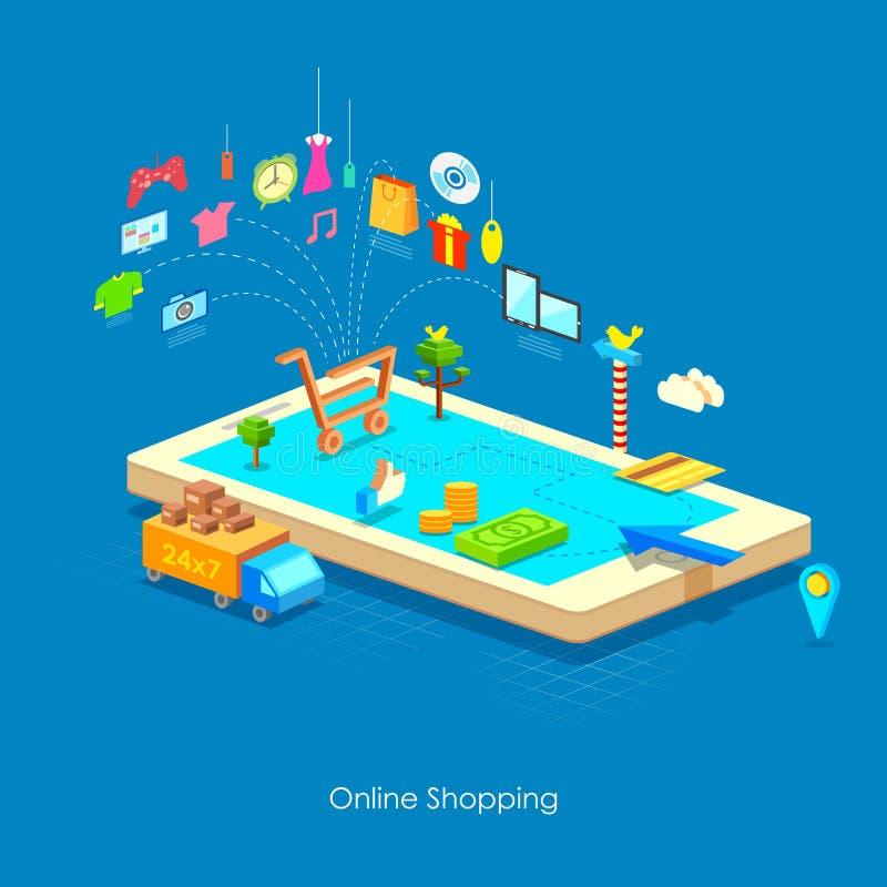 Έννοια ηλεκτρονικού εμπορίου απεικόνιση αποθεμάτων