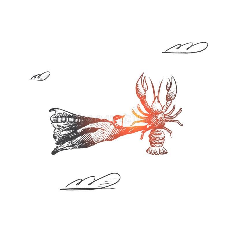 Έννοια θαλασσινών Συρμένο χέρι απομονωμένο διάνυσμα ελεύθερη απεικόνιση δικαιώματος