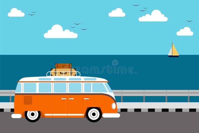 Έννοια θερινού ταξιδιού, επίπεδο σχέδιο παραλιών διακοπών ελεύθερη απεικόνιση δικαιώματος