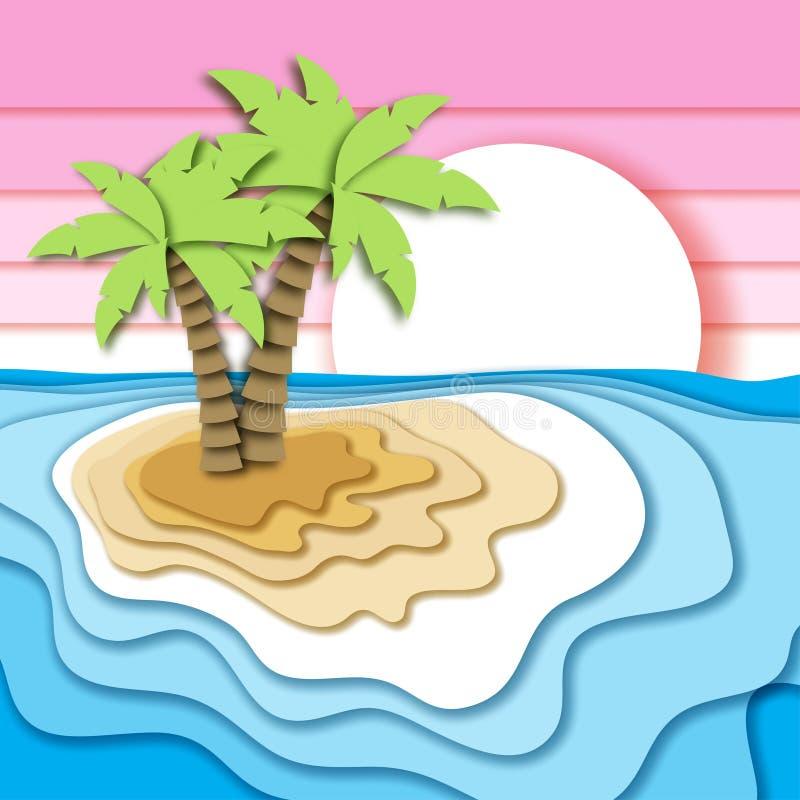 Έννοια θερινών διακοπών με το τροπικό νησί, την παραλία άμμου, τη θάλασσα ή τα ωκεάνιους κύματα και τον ουρανό ηλιοβασιλέματος διανυσματική απεικόνιση