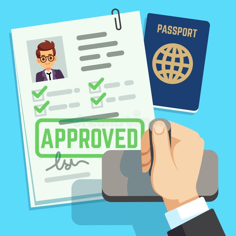 Έννοια θεωρήσεων Εφαρμογή διαβατηρίων ή θεωρήσεων Διανυσματική απεικόνιση γραμματοσήμων μετανάστευσης ταξιδιού ελεύθερη απεικόνιση δικαιώματος