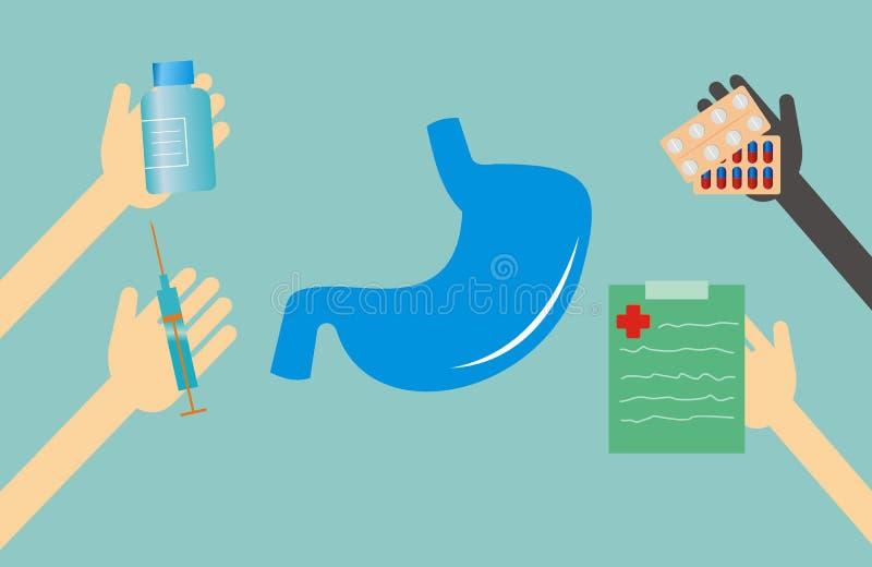 Έννοια ιατρικής - μορφή και χέρια στομαχιών με τα ιατρικά πράγματα ελεύθερη απεικόνιση δικαιώματος