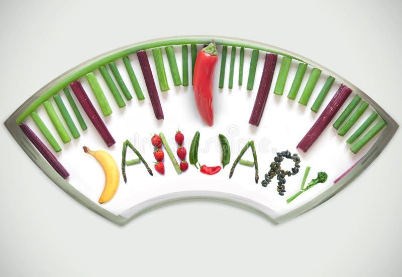 Έννοια διατροφής Ιανουαρίου στοκ εικόνα με δικαίωμα ελεύθερης χρήσης