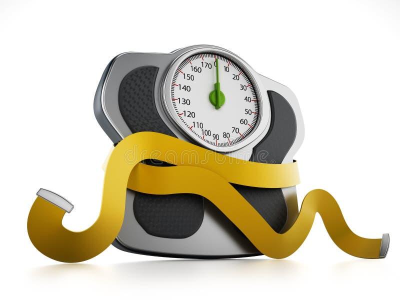 Έννοια διατροφής με την κλίμακα βάρους και το μέτρο ταινιών διανυσματική απεικόνιση