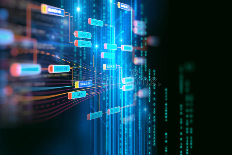Έννοια δικτύων αλυσίδων φραγμών στο υπόβαθρο τεχνολογίας απεικόνιση αποθεμάτων