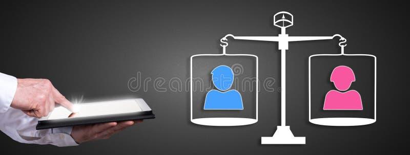 Έννοια ισότητας με το άτομο που χρησιμοποιεί μια ταμπλέτα απεικόνιση αποθεμάτων