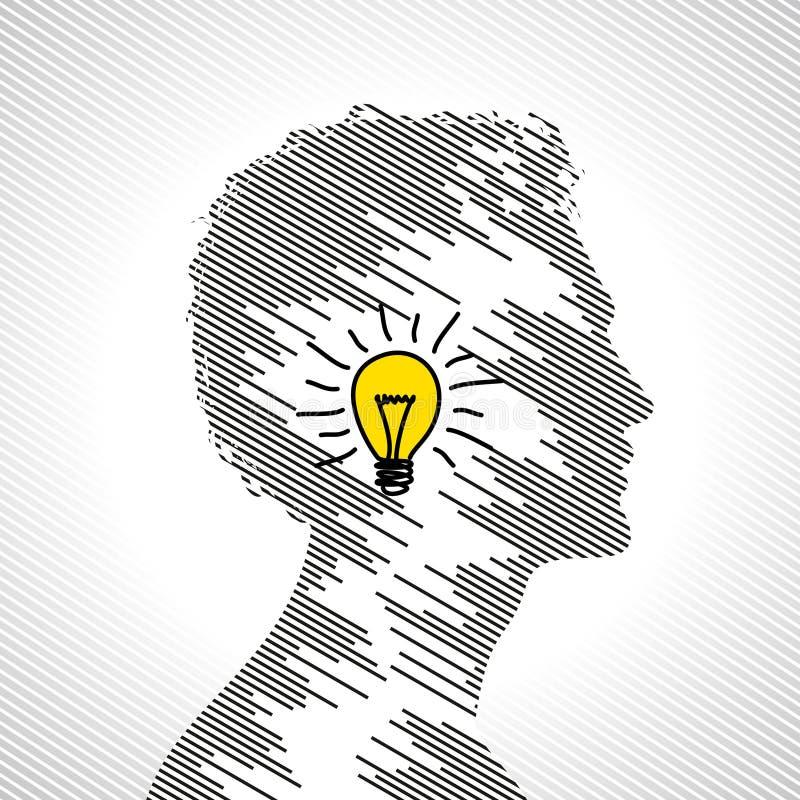 Έννοια ιδέας με το ανθρώπινο κεφάλι διανυσματική απεικόνιση