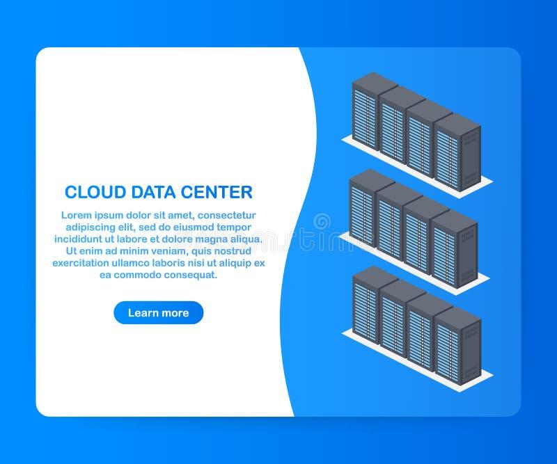 Έννοια κέντρων δεδομένων σύννεφων Σχέδιο επιγραφών για τον ιστοχώρο επίσης corel σύρετε το διάνυσμα απεικόνισης απεικόνιση αποθεμάτων