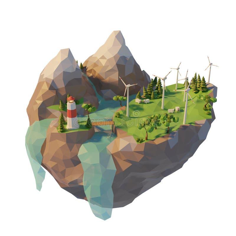 Έννοια καθαρής ενέργειας παραγωγής τρισδιάστατο χαμηλό πολυ επιπλέον νησί r o ελεύθερη απεικόνιση δικαιώματος