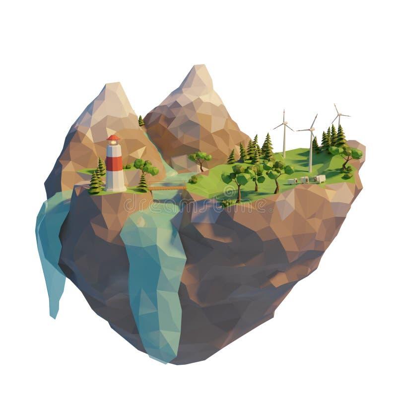 Έννοια καθαρής ενέργειας τρισδιάστατο χαμηλό πολυ επιπλέον νησί r o ελεύθερη απεικόνιση δικαιώματος