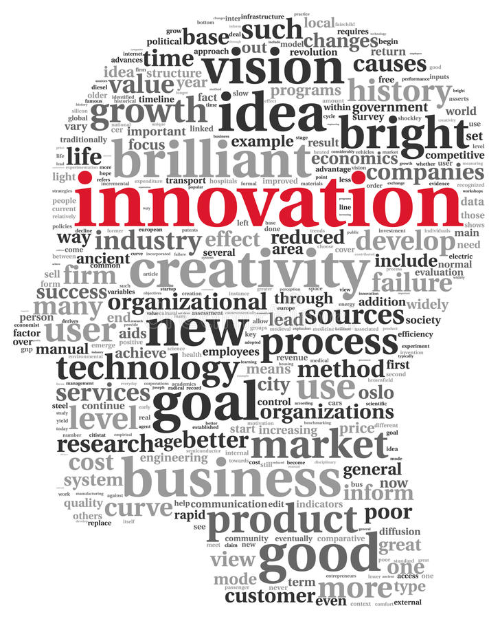 Έννοια καινοτομίας και τεχνολογίας στο σύννεφο ετικεττών διανυσματική απεικόνιση