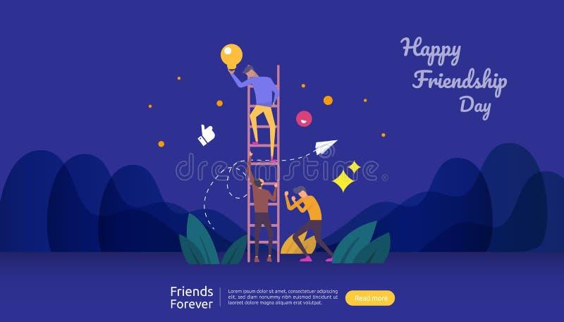 έννοια καλύτερων φίλων για πάντα για τον εορτασμό του ευτυχούς γεγονότος ημέρας φιλίας διανυσματική απεικόνιση της κοινωνικής σχέ διανυσματική απεικόνιση