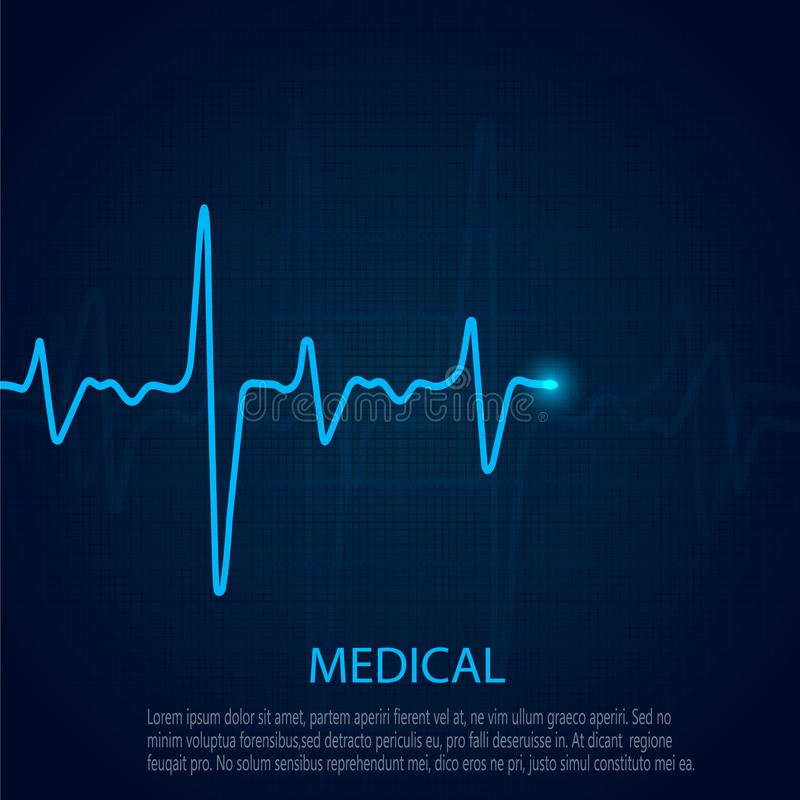 Έννοια καρδιολογίας με το διάγραμμα ποσοστού σφυγμού Ιατρικό υπόβαθρο με το καρδιογράφημα καρδιών απεικόνιση αποθεμάτων