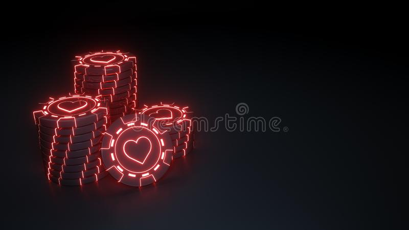 Έννοια καρδιών σωρών τσιπ χαρτοπαικτικών λεσχών με τα καμμένος κόκκινα φώτα νέου στο μαύρο υπόβαθρο - τρισδιάστατη απεικόνιση ελεύθερη απεικόνιση δικαιώματος