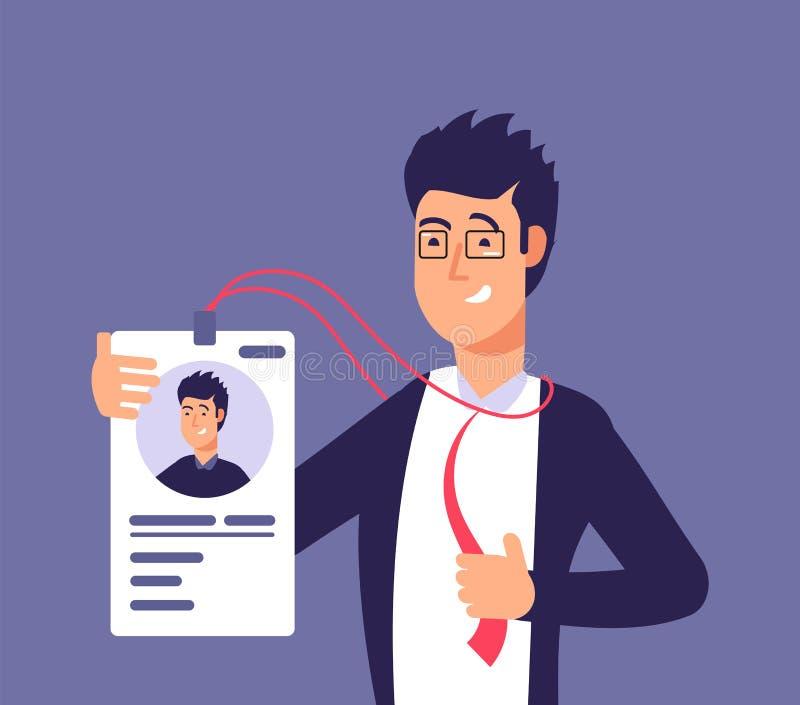 Έννοια καρτών ταυτότητας Άτομο υπαλλήλων με το διακριτικό ταυτότητας Επιχειρησιακή ασφάλεια και διανυσματική απεικόνιση προσδιορι ελεύθερη απεικόνιση δικαιώματος