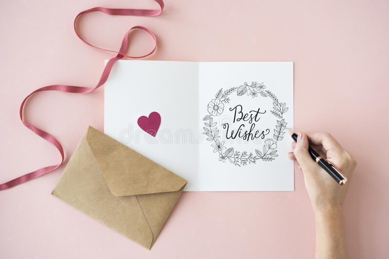 Έννοια καρτών δώρων ευχετήριων καρτών καλύτερων ευχών στοκ φωτογραφία