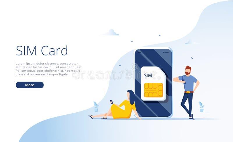Έννοια καρτών SIM στη διανυσματική απεικόνιση Κινητό δίκτυο με την τεχνολογία μικροτσίπ esim o απεικόνιση αποθεμάτων